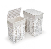 Badger Basket Two Hamper Set with Liners - White