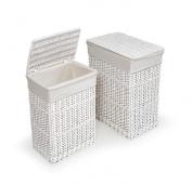 Badger Basket Two Hamper Set with Liners - White