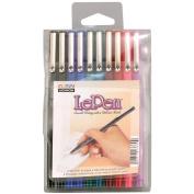 Uchida 473330 Le Pen Set .03mm Point 10-Pkg-Black-Blue-Red-Green-Pink-Burg-Teal-Lav
