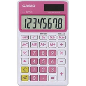Casio Sl300Vcpksih Solar Wallet Calculator With 8-Digit Display - Pink