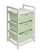 Badger Basket 00128 White Finish Three Drawer Hamper-Storage Unit- Sage Polka Dots