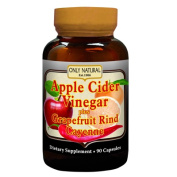 Only Natural 0526178 Apple Cider Vinegar Plus GrapeFruit Rind and Cayenne - 500 mg - 90 Capsules