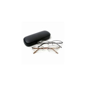 Vienna Eyewear Readers, Gold and Gun Metal Thin Semi-Rimless Glasses with Protective Case, 1.50 1 ea