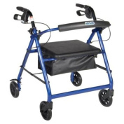 Drive Medical Aluminium Rollator Walker Fold Up and Removable Back Support, Padded Seat, 15cm Wheels, Blue