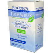 Puretouch Skin Care 0394429 Tush Wipes Flushable - 24 Wipes
