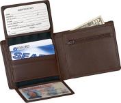 Men's Bi-Fold Wallet w/2 ID Window & Zippered Compartment