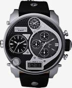 Diesel Men's Black SBA Oversized Ana-Digi Black and Silver Dial Watch