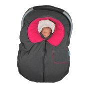 Tivoli Couture Infant Car Seat Jacket and Stroller Cover - Hot Pink/Charcoal
