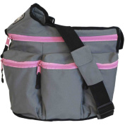 Nappy Dude's Diva Bag for Hip Moms, Grey with Pink Zippers