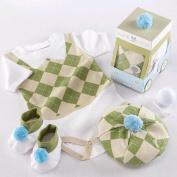 Baby Aspen 3-Piece 'Sweet Tee' Golf Layette Set in Golf Cart Packaging - Soft Green