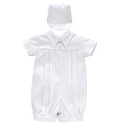 Haddad Boys Christening Romper & Matching Hat - White