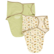 Summer Infant 2 Pack 100% Oragnic Cotton Knit Swaddleme, Ivory/Green