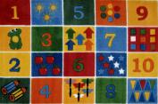 LA Rug TSC-232 3958 Supreme Collection Number Blocks Rug - 99.1cm x 147.3cm