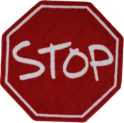 LA Rug FTS-029 39RD Fun Time Shape Stop Sign High Pile Rug - 99.1cm Round