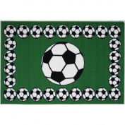 La Rug FT-94-1929 48.3cm . x 73.7cm . Fun Time Soccer Accent Rug - Multi Coloured