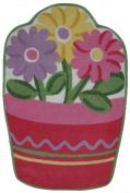 LA Rug FTS-135 3958 Fun Time Shape Flower Pot High Pile Rug - 99.1cm x 147.3cm