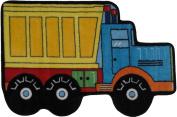 LA Rug FTS-132 3147 Fun Time Shape Dump Truck High Pile Rug - 78.7cm x 119.4cm