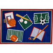 LA Rug BBB-001 3958 Fun Time Collection - Sports A Rama Rug - 99.1cm x 147.3cm