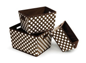 Badger Basket 3 Pack Polka Dot Nesting Trapezoid Shape Folding Baskets