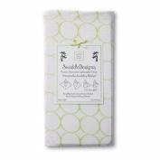 Swaddle Designs Marquisette Swaddling Blanket - White with Kiwi Mod Circles