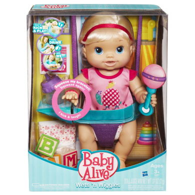Baby Alive Wets N Wiggles Doll Blonde By Hasbro Shop