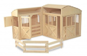 Melissa & Doug Deluxe Wooden Folding Horse Stable with Corral