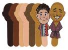 R39102 Multicultural Skin Tone Faces Crafts Sticks