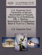 U.S. Supreme Court Transcripts of Record Stockholders of Peoples Banking Co of Smithsburg, MD, V. Sterling