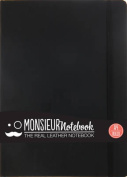 Monsieur Notebook Leather Journal - Black Ruled Large A4