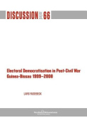 Electoral Democratisation in Post-Civil War Guinea-Bissau 1999-2008