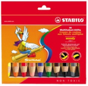 Swan STABILO Woody 3 in 1 Chunky Crayons - Pack of 10