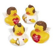 12 pc - Valentine's Day Cupid Rubber Duckie Ducky Ducks - Fun Party Favours