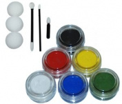 Kustom Body Art 6 Colour Primary Face Paint Colour Set 10 ml with Applicator Kit