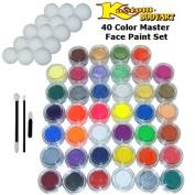 40 Colour Master Face Paint Colour Set 10 ml with Applicator Kit