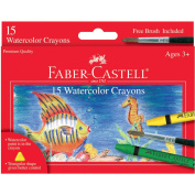 Faber Castell-Watercolour Crayons With Brush 15 Pack