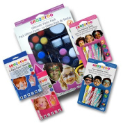 Snazarro Deluxe Party Pack Face Paint Kit - Includes Ultimate Party Pack plus Boys and Girls Face Paint Crayon Sticks and Boys and Girls Face Paint Stencils