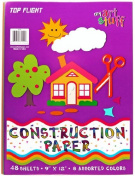 Top Flight Construction Paper, Assorted Colours, 23cm x 30cm , 48 Sheets, Polywrapped