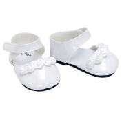 18 Inch Doll Dress Shoes for American Girl Dolls in White Patent Leather and Satin Rose Ribbon Trim, White Doll Dress Shoes