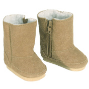 18 Inch Doll Boots fits American Girls Doll, Tan Suede Style with White Sherpa Lining and Zippers for easy Doll Dress Play, Tan Suede Boots