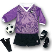 Doll Soccer Outfit, Ball, Black Socks & Cleats, Complete 18 Inch Doll Sports set, Fits American Girl Dolls