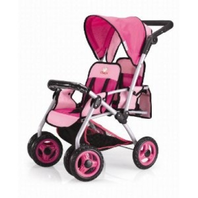 Twin Doll Pram Back to Back with Swivelling Wheels and ...