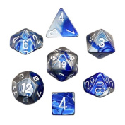 Polyhedral 7-Die Gemini Dice Set - Blue-Steel with White
