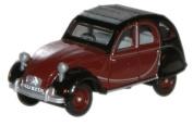 oxford charleston maroon black citroen 2CV car 1.76 railway scale diecast model