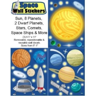 Space wall decals 45 peel stick removable outer space for Outer space design australia