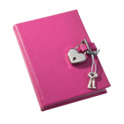 Saffiano Lock Diary, Working Key and Lock, Pink