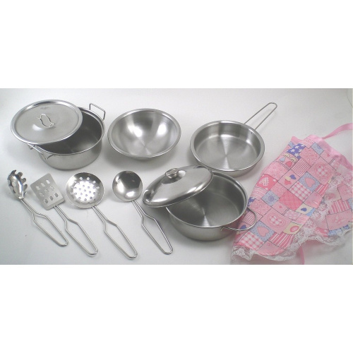 Real stainless steel metal pots and pans kitchen set with for Kitchen set real