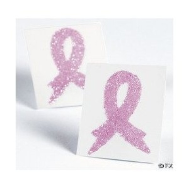 12 pink ribbon breast cancer awareness temporary tattoos for Breast cancer face tattoos walmart