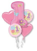 Hugs and Stitches Girl 1st Birthday Balloon Bouquet