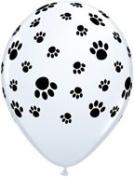 28cm White Paw Prints (100) Latex Balloons