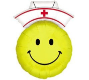 Yellow Smiley Face Nurse With Hat Shaped 70cm Mylar Foil Balloon Party